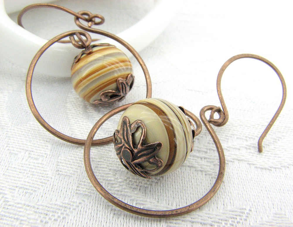 Caramel Swirl and Copper Hoop Earrings